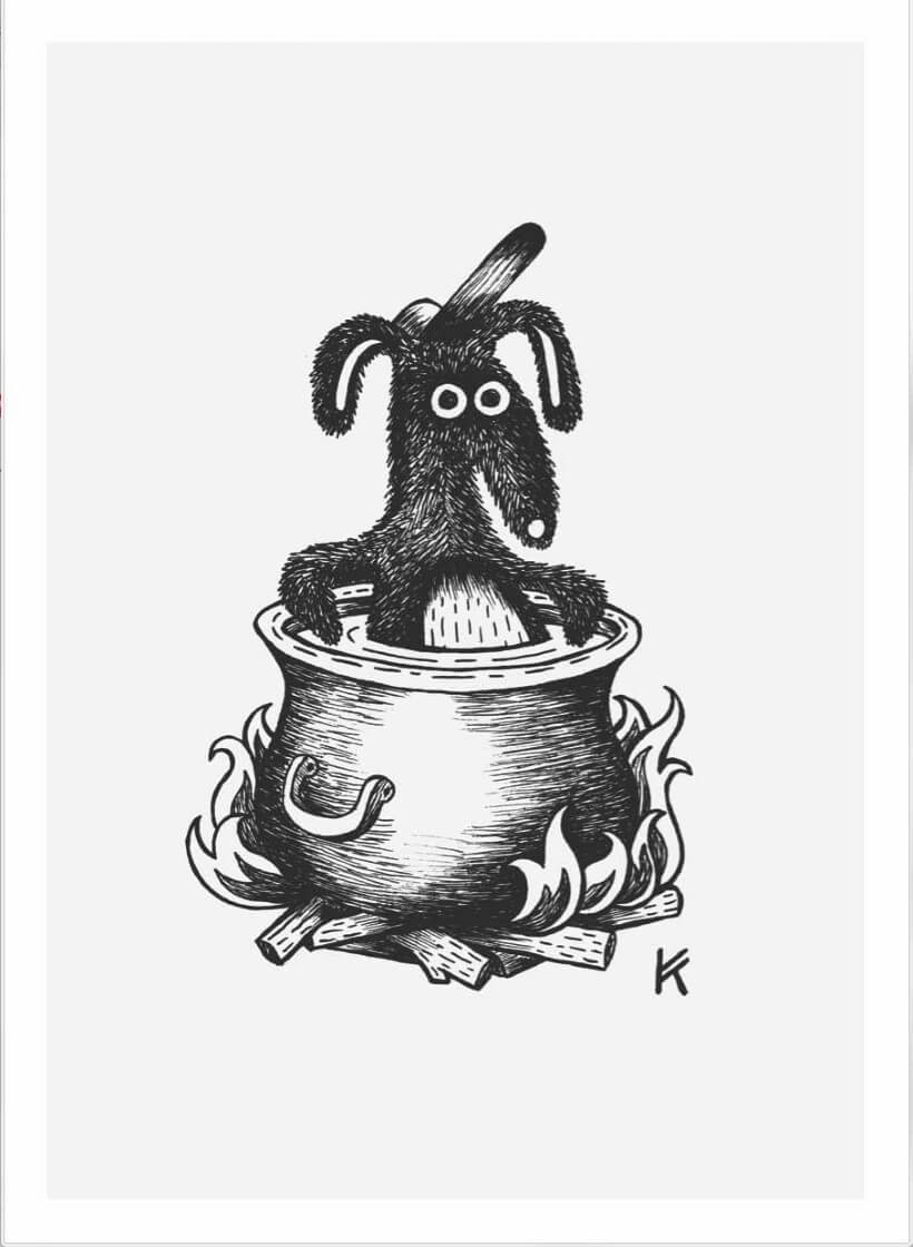 Hond in die pot kry